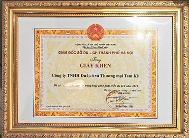 Certificate of a merit award from Director of Hanoi Tourism Department
