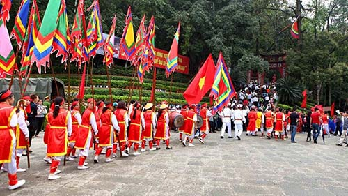 A parade in a traditional Vietnamese festival