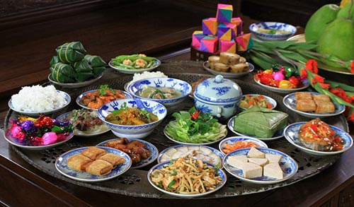 A traditional new year meal of Vietnamese