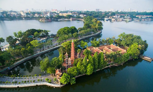 The charm of Tran Quoc pagoda from the high view