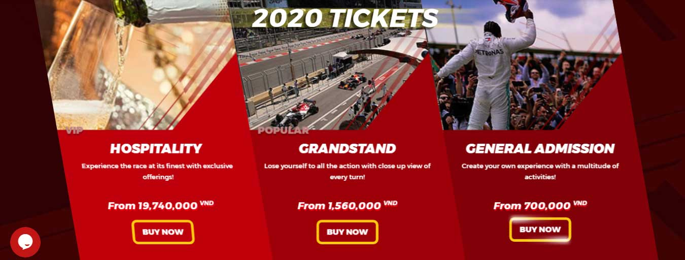 The price ticket for F1 racing