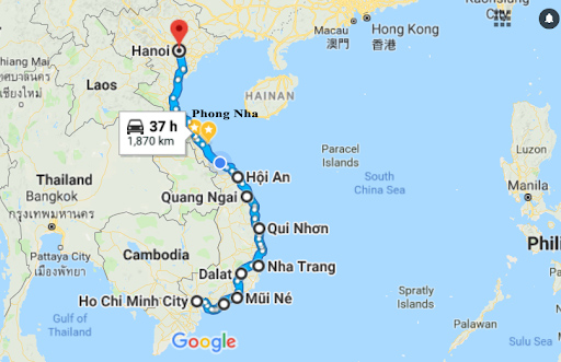 Vietnam Cycling Route
